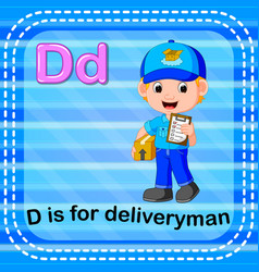 flashcard letter d is for deliveryman vector image