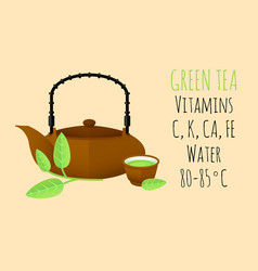 flat healthy green tea concept vector image