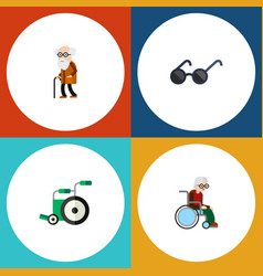 flat icon handicapped set of ancestor wheelchair vector image vector image