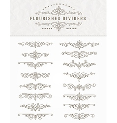 Set of flourishes dividers vector image vector image