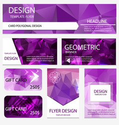 set templates polygonal purple background layout vector image