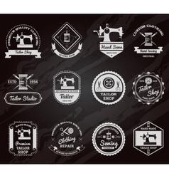 Tailor shop chalkboard labels icons set vector image vector image