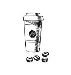 Takeaway coffee cup with beans vector image