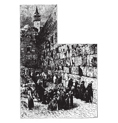 Wailing place of the jews at jerusalem vintage vector