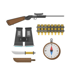 binoculars hunting safari tourism equipment vector image