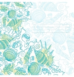 Card design with sea shells vector image