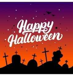 Happy Halloween hand written lettering card with vector image