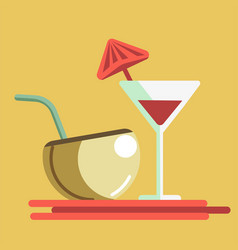 refreshing summer cocktails in martini glass and vector image