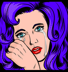sad girl crying pop art style vector image vector image