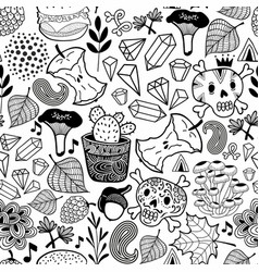 seamless pattern with skulls in the forest vector image vector image