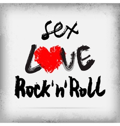 Sex LOVE Rocknroll poster design vector image