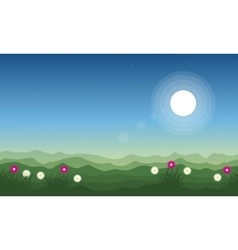 Beauty landscape on the hill at spring vector