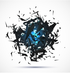 Blue light explosion of black particles on white vector image vector image