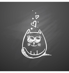 cat with hearts vector image vector image