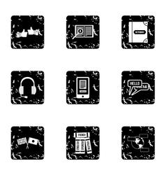 Languages icons set grunge style vector image