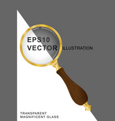 magnifying glass transparent gold vector image vector image