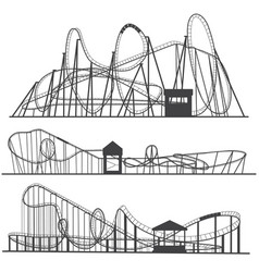 set of silhouettes roller coaster rollercoaster vector image vector image