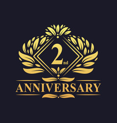 2 years anniversary logo luxury floral golden 2nd vector