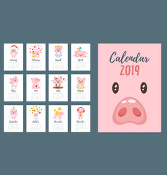 2019 pig year monthly calendar vector