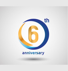 6 anniversary design with blue and golden circle vector