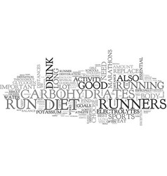 A diet for runners get the right nutrients text vector
