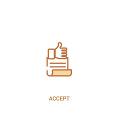 Accept concept 2 colored icon simple line element vector