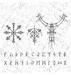 ancient viking symbols with letters vector image
