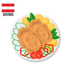 Austria wiener schnitzel cutlet vector