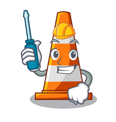 automotive on traffic cone against mascot argaet vector image