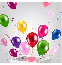 Birthday card with box and balloons vector
