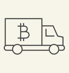 Bitcoin car thin line icon crypto van vector