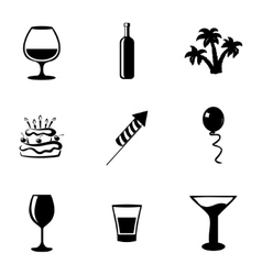 Black party icons set vector