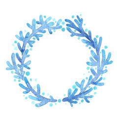 Blue coral wreath frame watercolor vector