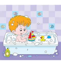 Boy bathing vector