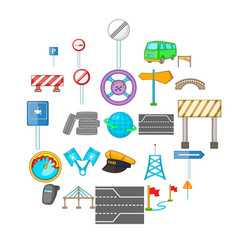 Bridgework icons set cartoon style vector