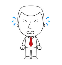 businessman line cartoon face crying sad expressio vector image