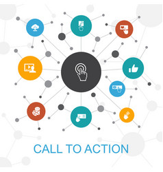 Call to action trendy web concept with icons vector