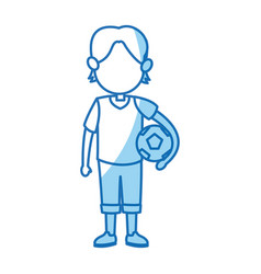 Cartoon boy kid holding ball soccer image vector