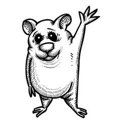 cartoon image of waving hamster vector image