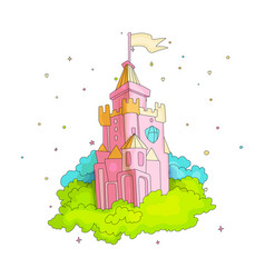 cartoon medieval fun pink castle with flag and vector image