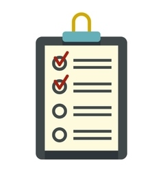 Clipboard with checklist icon flat style vector
