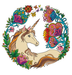 Colorful elegance unicorn with flowers vector