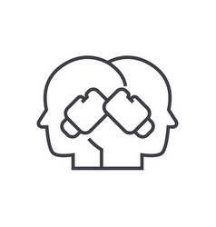 Conflict boxing in heads line vector