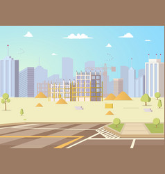 construction site with unfinished building vector image