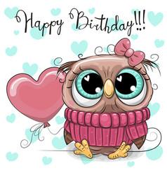 cute cartoon owl girl with a balloon vector image