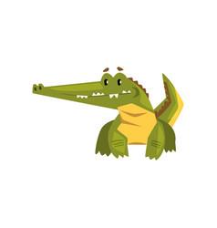 Cute friendly crocodile funny predator cartoon vector