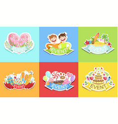 cute holiday stickers set colorful prints for vector image