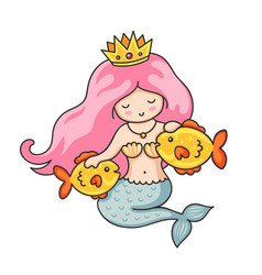 cute princess mermaid with crown and two golden vector image