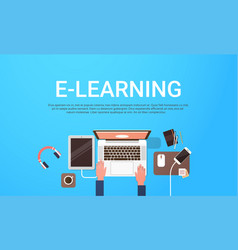 e-learning education online banner with student vector image