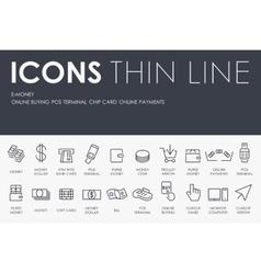 E-money Thin Line Icons vector image